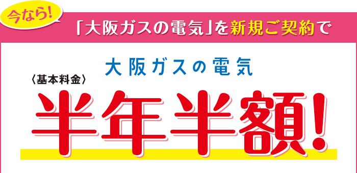 今なら!「大阪ガスの電気」を新規ご契約で 大阪ガスの電気 <基本料金>半年半額!