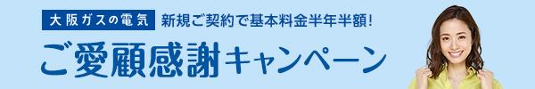 大阪ガスの電気 新規ご契約で基本料金半年半額! ご愛顧感謝キャンペーン