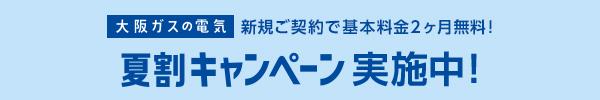 「大阪ガスの電気」新規ご契約で基本料金2ヶ月無料! 夏割キャンペーン実施中!