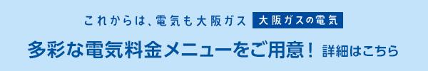 これからは、電気も大阪ガス「大阪ガスの電気」 多彩な電気料金メニューをご用意! 詳細はこちら